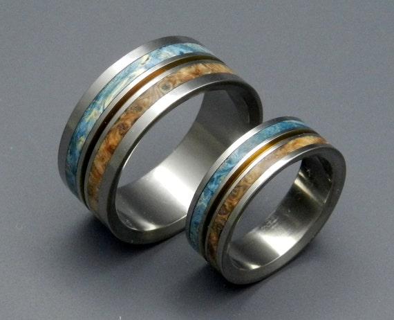Titanium wedding ring, wedding band, wooden ring, men's ring, woman's ring, box elder wood, titanium ring, something blue- HEAVEN ON EARTH