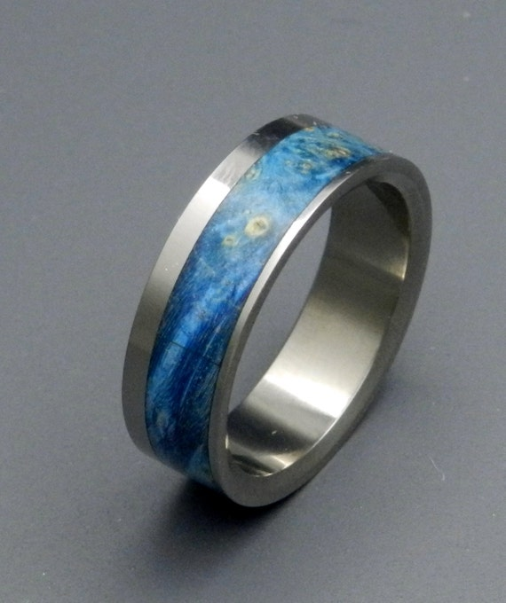Wooden Wedding Rings, Titanium Wedding Band, wedding rings, titanium rings, men's rings, women's rings, wood ring, blue ring - CIRRUS