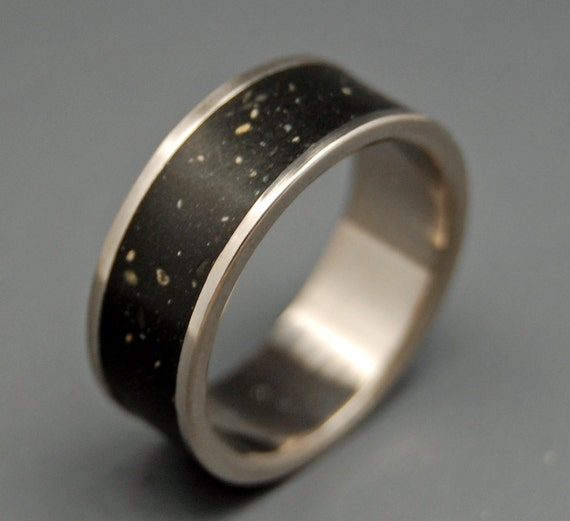 wedding rings, titanium rings, wood rings, mens rings, Titanium Wedding Bands, Eco-Friendly Rings, Wedding Rings - NIGHT SKY
