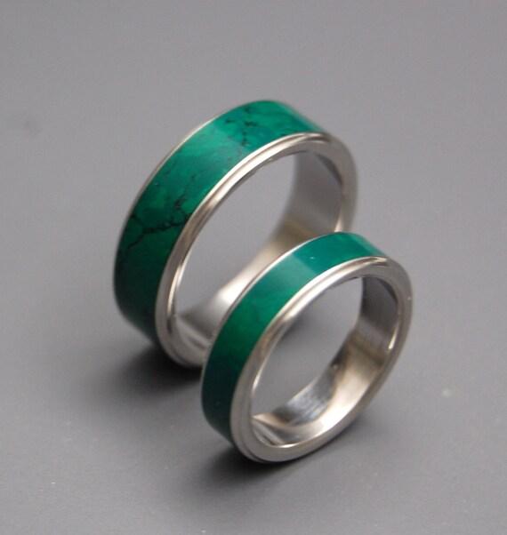 titanium wedding ring wedding band stone ring mens ring womans ring - Jade Wedding Ring