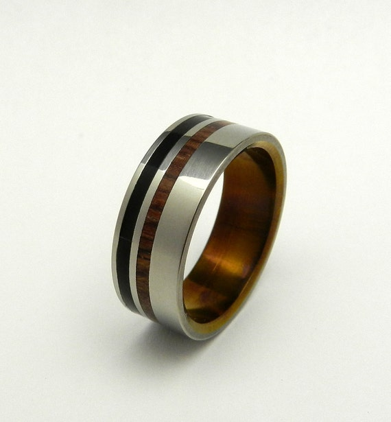 Titanium Wedding Rings, Wooden Wedding Rings, Dark Cocobolo wood ring, black feathered resin, unique wedding rings, wedding set - PIPPIN