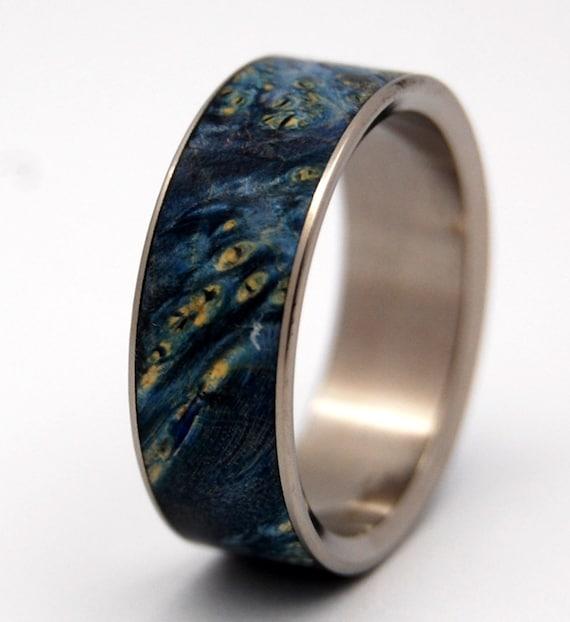 Wooden Wedding Ring, Titanium Wedding Band, wedding rings, titanium rings, men's rings, women's rings, wood rings, stars - SHOOTING STARS