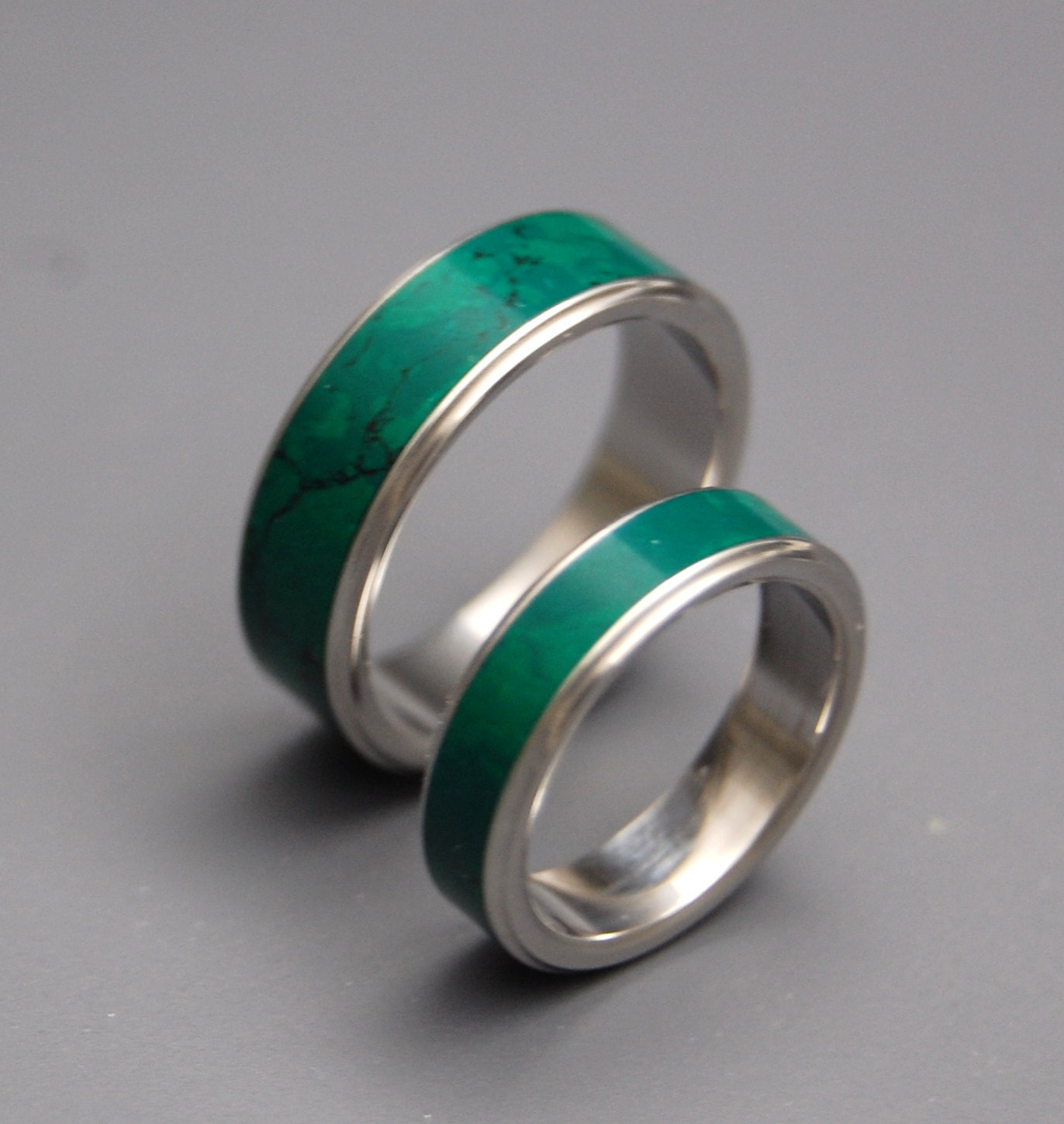 Stone of heaven titanium jade wedding set by for Jade wedding ring