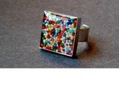 Sprinkle Ring in Square Silver Bezel Adjustable