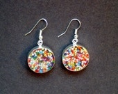 RESERVE FOR PAM: Sprinkle Earrings Small Circles with Silver bezel set