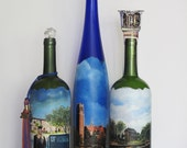 Graduation Personalized Custom Order Gift.  College School Theme Gifts, Sports Theme, Hand Painted Wine Bottles, Memorabilia