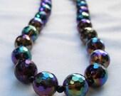 Rainbow Aura Necklace, Faceted Quartz with Spectacular Titanium Finish, Signature