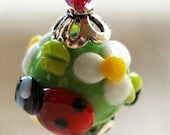Ladybug Daisy Earrings for Nature Lovers, in Gorgeous Lampwork