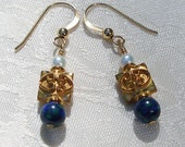 Azurite and Cultured Pearl Earrings