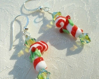 Candy Cane Earrings, Christmas Earrings, Christmas Candy, Holly