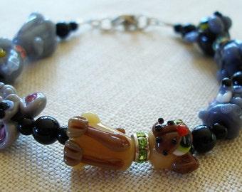 Cat Bracelet, Kitty Jewelry, Cat Lover, Siamese, Tigerstripe Kitten, Grey Cat, Mouse, Pet Jewelry