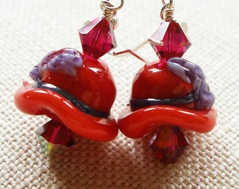 Red Hat Earrings, Red Hat Society, Red Hat, Red and Purple Earrings