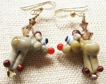 Reindeer Earrings, Christmas Earrings, Holiday, Nature, Brown