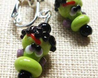 Halloween Frankenstein Earrings, Frankenstein, Monster, Creepy, Goth