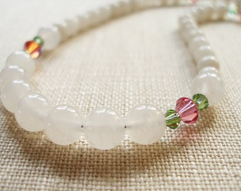 White Jade Necklace with Rose and Green Crystal Accents, Spring Necklace
