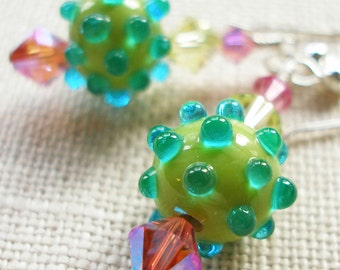 Dotted Swiss Earrings in Luscious Pink and Green Lampwork