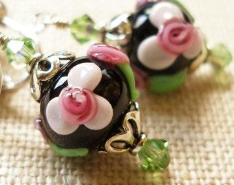 Rose Earrings, Spring Flower Nature Garden Pink Rosebuds