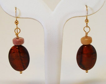 Red Tigereye Earrings with Moukaite