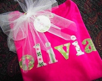 The Name Shirt-Personalized-A Collage of Pink and Green