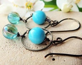 Handmade copper earrings turquoise glass -- MIST