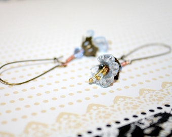 Blue Lucite Lily Earrings with Wire Wrapped Stamen