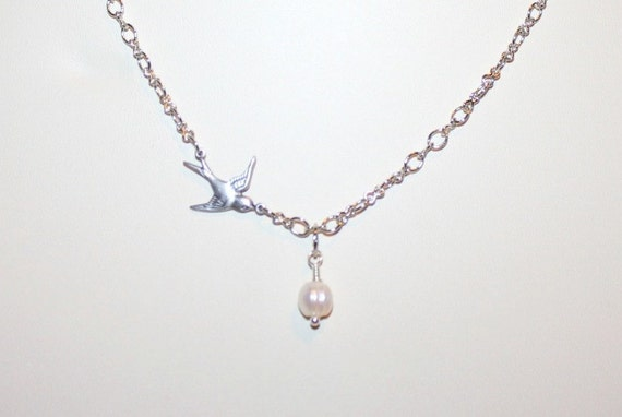 Dainty Swallow and Pearl Egg Necklace - Made To Order