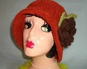 Ready To Ship Fall Spice Rust Suede Hat Chocolate Brown Flower Pin - Boutique Vintage Style Cloche