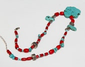 Blue Turquoise and coral necklace Blue Jewelry Red Jewelry