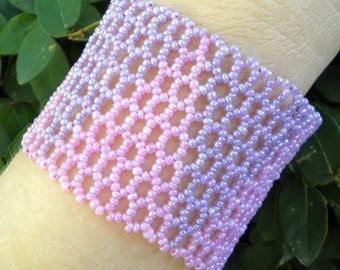 Bracelet Purple Pink Cuff Zulu Beaded Wrap