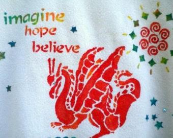 Sweatshirt Red Dragon Hand Painted Imagine Hope Believe Adult Large