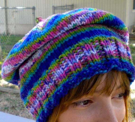 Hat Slouchy Tam Blue Watercolor Stripe Hand Knit