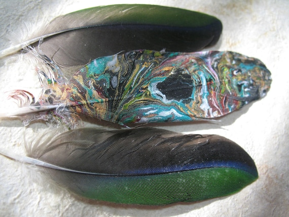 Real Feathers Marbled like Paper. Luminescent Paint. Golds and Greens. and Natural Parrot Feathers
