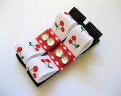 SWEET CHERRY - Set of 2 Boutique Style Hair Bows / Clips