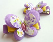 PURPLE BUTTERFLIES - Set of 2 Felt Hair Clips