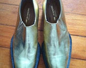 Vintage 90s Comme des Garcons Leather Metallic Gold Shoes Womens Metallic Booties