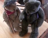 Rustic Vintage Boyds Bears on an Amazing Handmade Twig Bench