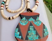 SALE Antique Spanish Native American Micro Mosaic 100 years old Pottery Necklace RARE