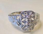 Vintage Faux White Gold Engagement Antique Filigree Ring