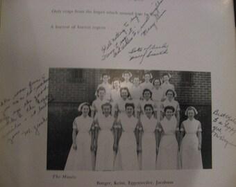 Yearbook Lankenau Nurse 1943 PA  Grad Autographs Hospital