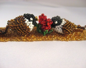 Birds Three Dimensional OOAK Unique Perched High Beaded Bracelet