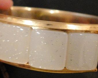 SALE Lucite Bracelet Bangle Glitter Gold Tone Inset Hinged Vintage