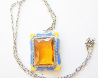 SALE Necklace Citrine Pendant Sterling Silver  Art Deco Gemstone SALE