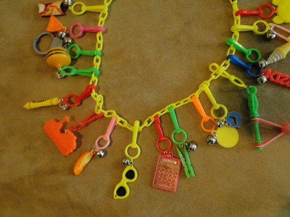 Necklace Charms Plastic 1970 1980s Loaded Charms SALE