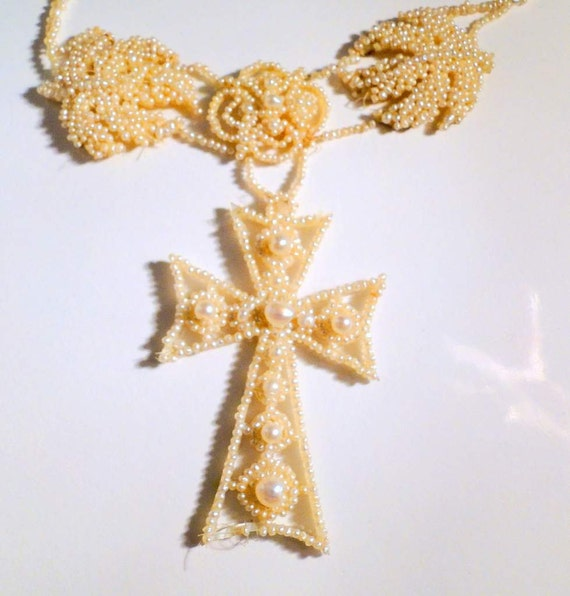 Cross Necklace Seed Pearls Victorian Antique