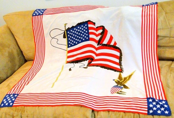 SALE Scarf American Flag Eagle HUGE Silk Patriotic Empress Laitqu Free Shipping