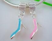 High Heel Dangle Charm in Blue - Fits European Style Bracelets