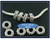 Silver European Style Spacer Bead with Small Flowers - 2 Pieces
