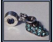 Blue Rhinestone Baby Shoe Charm - European Style