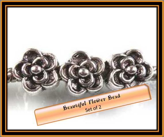 Beautiful FLOWER Spacer Bead ~ Set of 2