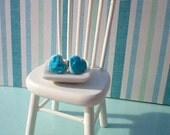 Petite Blue Heart Cookie Earrings